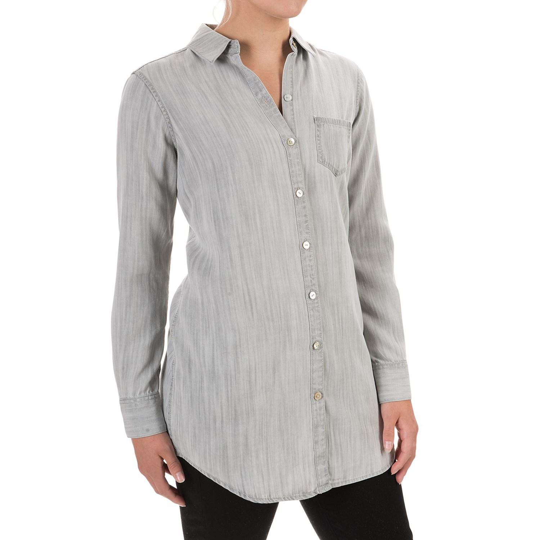 Foxcroft Soft Tencel One Pocket Tunic Shirt For Women