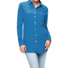 Foxcroft Solid Modal Tunic Shirt - Long Sleeve (For Women) in Blue Lagoon - Closeouts