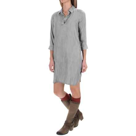 Foxcroft Solid TENCEL® Dress - V-Neck, 3/4 Sleeve (For Women) in Silver - Closeouts