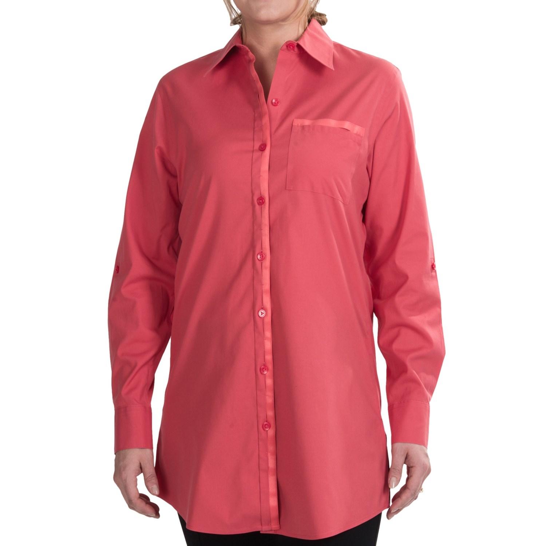 Foxcroft Stretch Cotton Tunic Shirt For Women Save 65