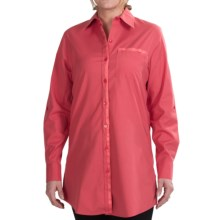 Foxcroft Stretch Cotton Tunic Shirt - No-Iron, Long Sleeve (For Women) in Coral Rose - Closeouts