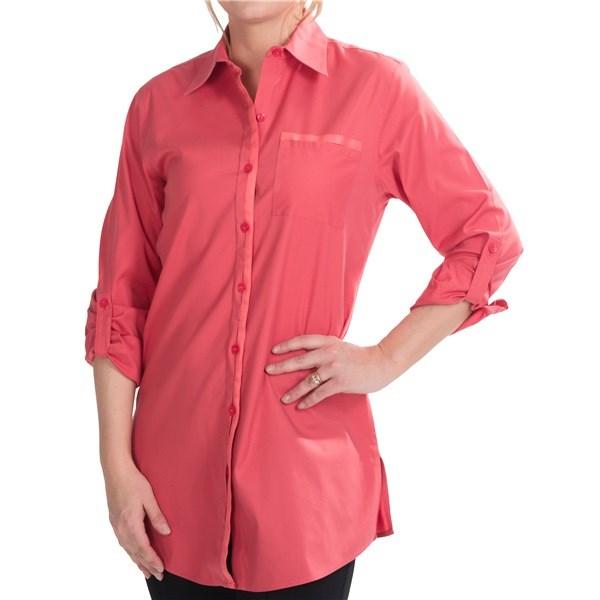 Foxcroft stretch cotton tunic shirt for women 7028m for No iron cotton shirts
