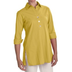 Foxcroft Stretch Shaped Tunic Shirt - 3/4 Sleeve (For Women) in Citrus