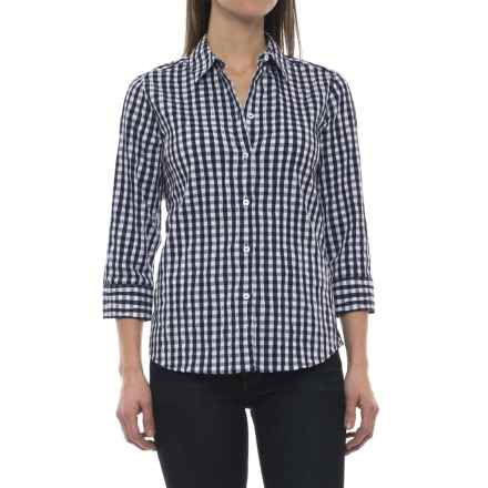 Foxcroft Sue Crinkle Gingham Shirt - 3/4 Sleeve (For Women) in Navy - Closeouts