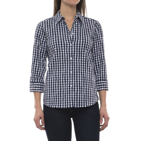 Foxcroft Sue Crinkle Gingham Shirt - 3/4 Sleeve (For Women) in Navy