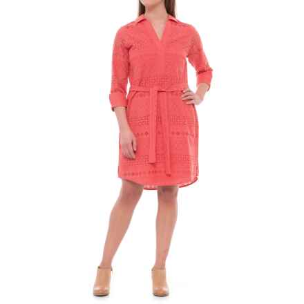 Foxcroft Taylor Eyelet Dress - Elbow Sleeve (For Women) in Sunset Coral - Overstock