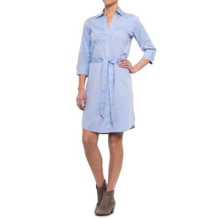 Foxcroft Taylor Non-Iron Shirtdress - 3/4 Sleeve (For Women) in Blue Waves - Closeouts