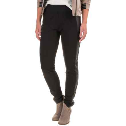 Foxcroft Techno Faux-Leather Paneled Leggings (For Women) in Black - Closeouts