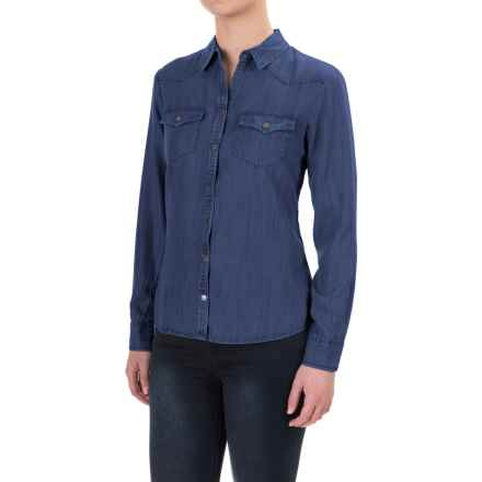 Foxcroft TENCEL® Western Shirt - Snap Front, Long Sleeve (For Petite Women) in Navy - Closeouts