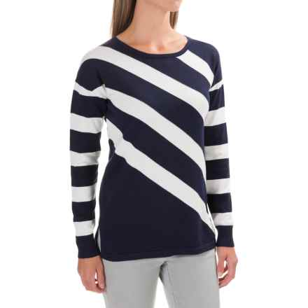 Foxcroft Tess Diagonal Stripe Shirt - Cotton Blend, Long Sleeve  (For Women) in Navy - Closeouts