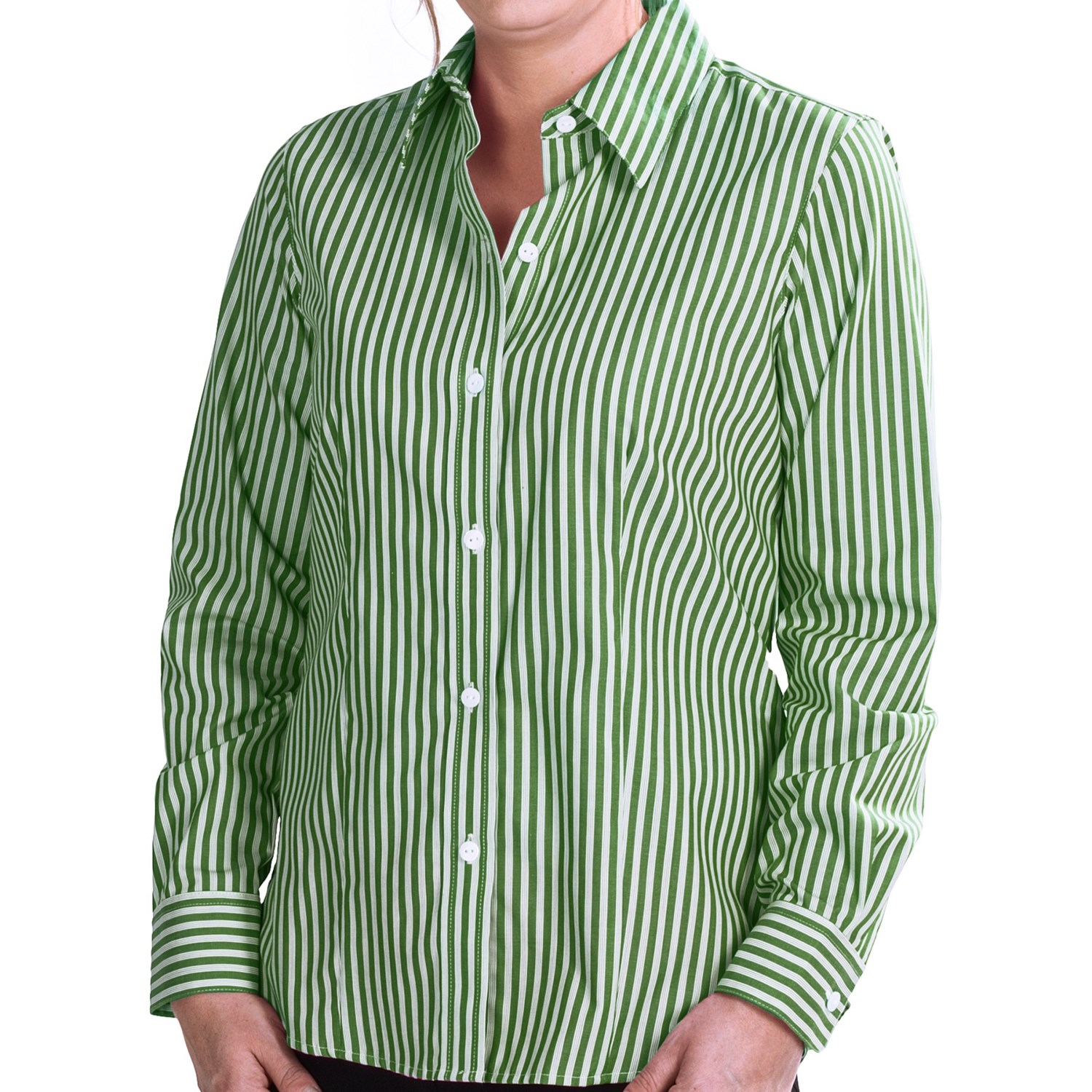 Foxcroft twill stripe shirt wrinkle free long sleeve for How do wrinkle free shirts work
