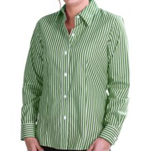Foxcroft Twill Stripe Shirt - Wrinkle-Free, Long Sleeve (For Women) in Green Clover - Closeouts