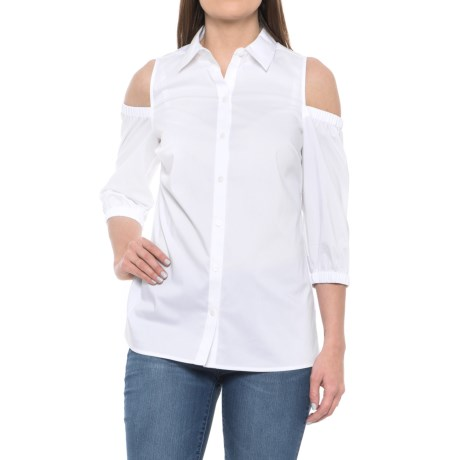 Foxcroft Tyra Stretch Cold-Shoulder Shirt - Elbow Sleeve (For Women) in White