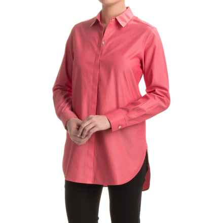 Foxcroft Vanessa No-Iron Tunic Shirt - Long Sleeve (For Women) in Holiday Red - Closeouts