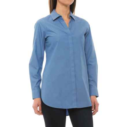 Foxcroft Vera Non-Iron Tunic Shirt - Long Sleeve (For Women) in Blueprint - Closeouts