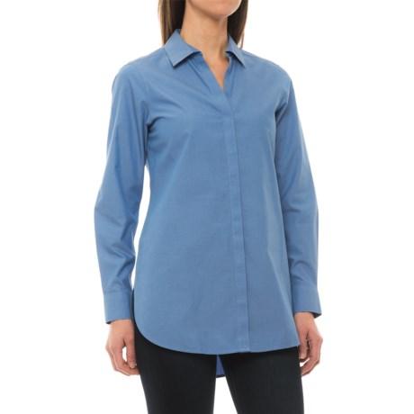 Foxcroft Vera Non-Iron Tunic Shirt - Long Sleeve (For Women) in Blueprint