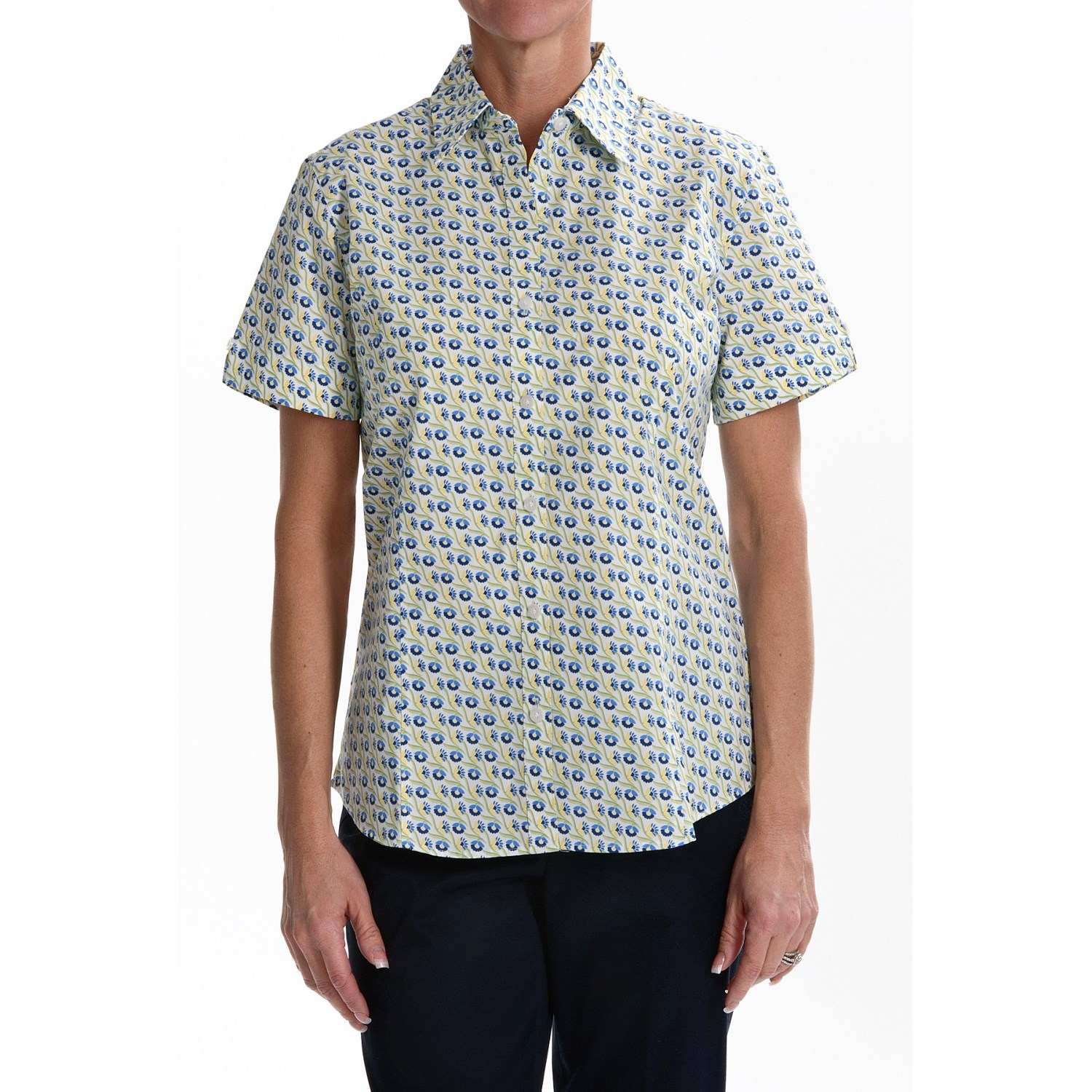 Foxcroft Wrinkle Free Camp Shirt Fitted Short Sleeve