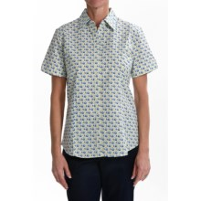 Foxcroft Wrinkle-Free Camp Shirt - Fitted, Short Sleeve (For Women) in Diagonal Floral - Closeouts