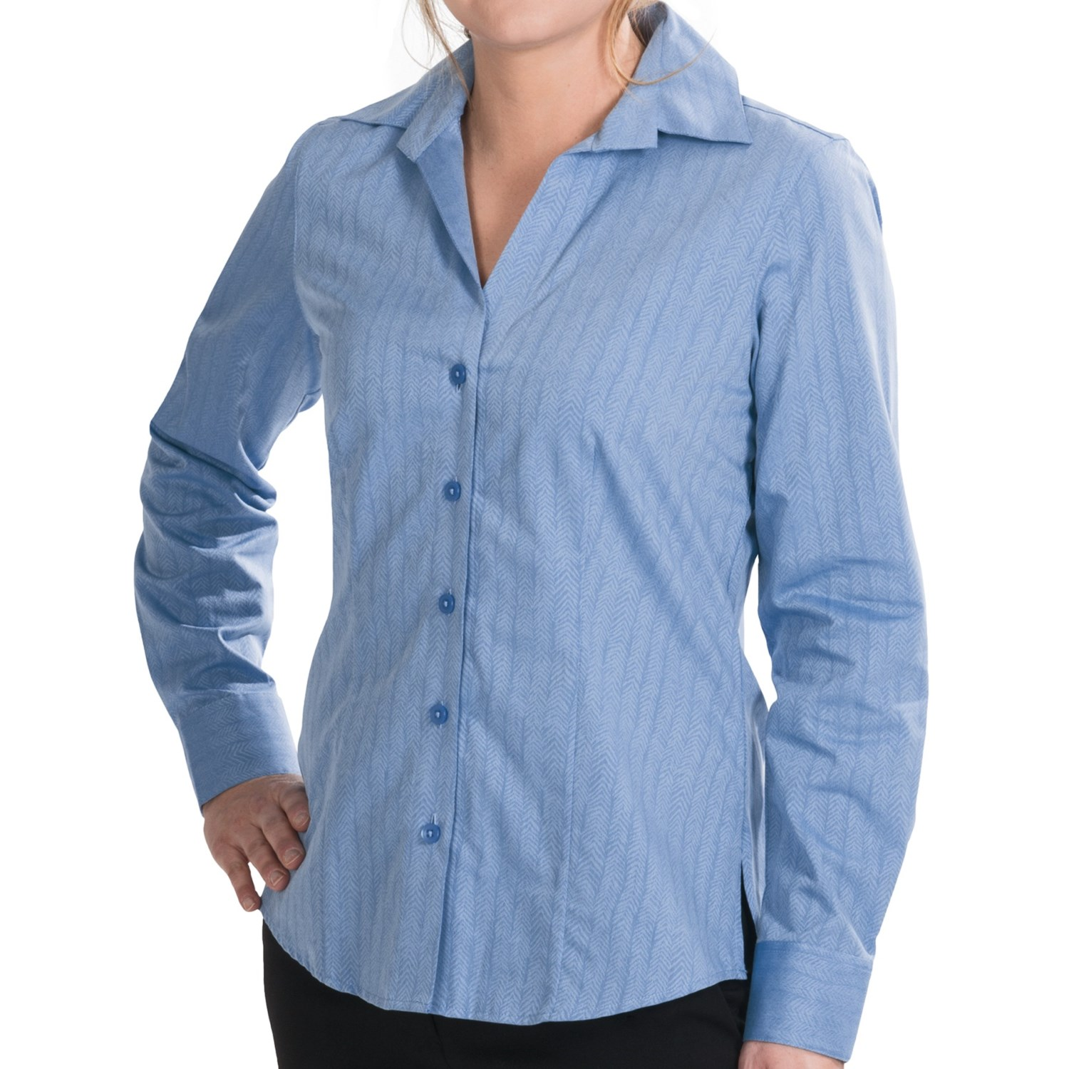 Foxcroft wrinkle free cotton herringbone shirt long Wrinkle free shirts for women