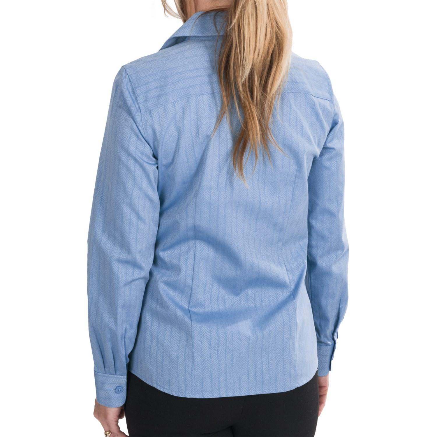 Foxcroft wrinkle free cotton herringbone shirt for women Wrinkle free shirts for women