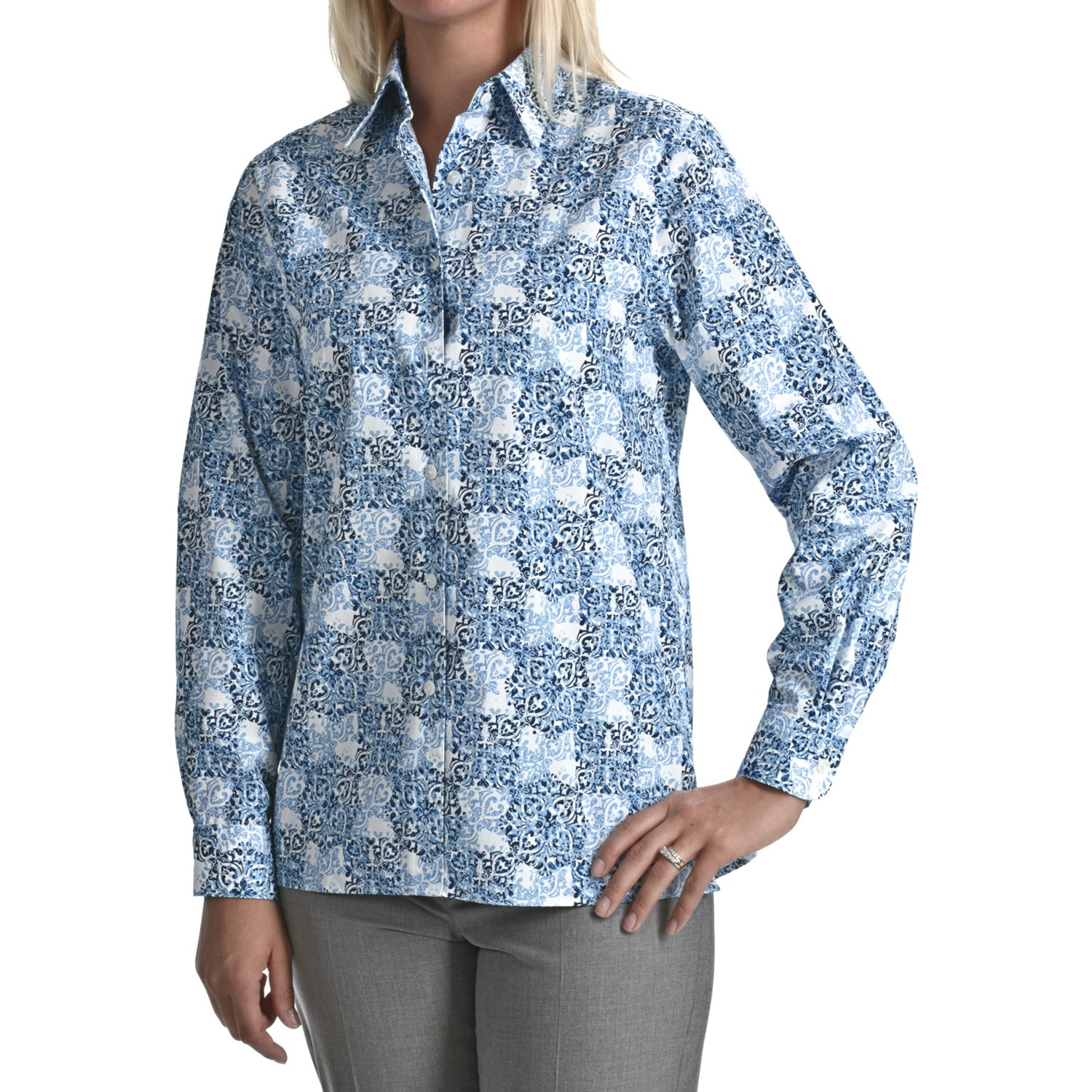 Foxcroft wrinkle free medallion print shirt cotton long Wrinkle free shirts for women