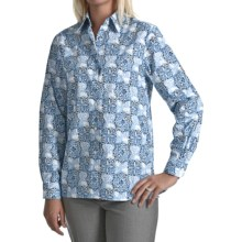 Foxcroft Wrinkle-Free Medallion Print Shirt - Cotton, Long Sleeve (For Women) in Blue Multi - Closeouts