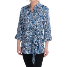 Foxcroft Zebra Print Tunic Shirt - 3/4 Sleeve (For Women) in True Blue - Closeouts