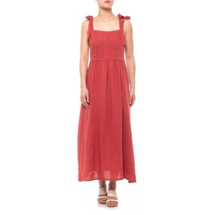 25c99816e1287 Francesca Bettini Made in Italy Brick Shoulder Tie Midi Dress - Linen,  Sleeveless (For