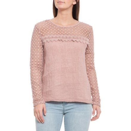 4c06428c095b3 Francesca Bettini Made in Italy Rose Crochet Sleeve Shirt - Linen, Long  Sleeve (For