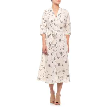 Francesca Bettini Made in Italy Silver Floral Printed Linen Midi Dress - 3/4 Sleeve (For Women) in Silver Floral - Closeouts