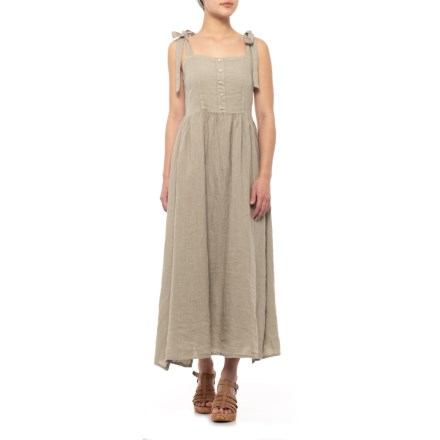 bf2b5d82f9 Francesca Bettini Taupe Italian Shoulder Tie Midi Dress - Sleeveless (For  Women) in Taupe