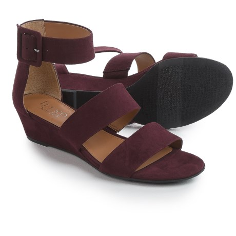 Franco Sarto Ankle Strap Sandals - Wedge Heel (For Women) in Dark Burgundy