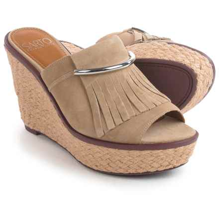 Franco Sarto Candace Sandals - Nubuck, Wedge Heel (For Women) in Soft Tan - Closeouts