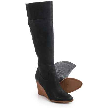 Franco Sarto Lara Tall Wedge Boots - Suede (For Women) in Black Leather - Closeouts