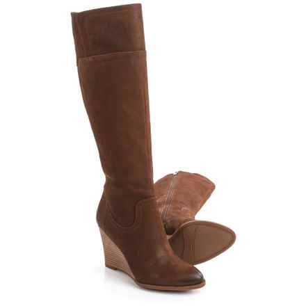 Franco Sarto Lara Tall Wedge Boots - Suede (For Women) in Tan Leather - Closeouts