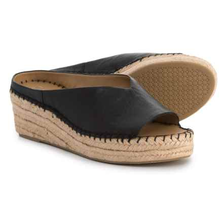 Franco Sarto Pine Espadrille Wedge Sandals - Suede (For Women) in Black Leather - Closeouts