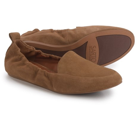 Franco Sarto Stacey Loafers - Suede, Slip-Ons (For Women) in Barley Tan Suede