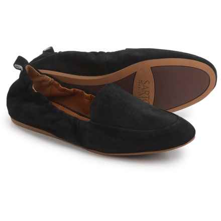 Franco Sarto Stacey Loafers - Suede, Slip-Ons (For Women) in Black Suede - Closeouts