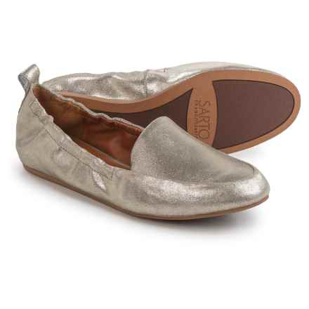 Franco Sarto Stacey Loafers - Suede, Slip-Ons (For Women) in Platinum Stardust Leather - Closeouts