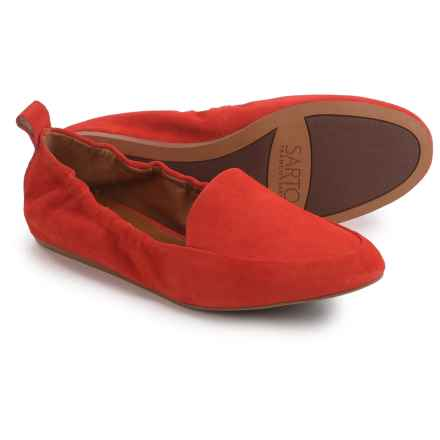 Franco Sarto Stacey Loafers - Suede, Slip-Ons (For Women) in Tangerine Suede - Closeouts