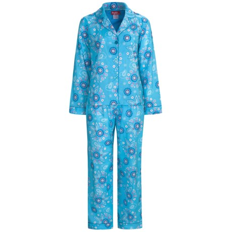 Frankie & Johnny Cotton Voile Pajamas - Long Sleeve (For Plus Size Women) in Birds Night