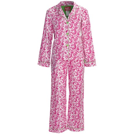 Frankie & Johnny Cotton Voile Pajamas - Long Sleeve (For Plus Size Women) in Paisley Hot Pink