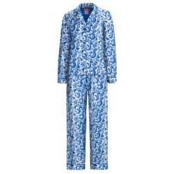 Frankie & Johnny Cotton Voile Pajamas - Long Sleeve (For Plus Size Women) in Paisley Navy Blue