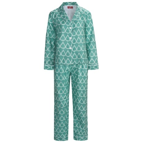 Frankie & Johnny Cotton Voile Pajamas - Long Sleeve (For Plus Size Women) in Teardrop Sea Green