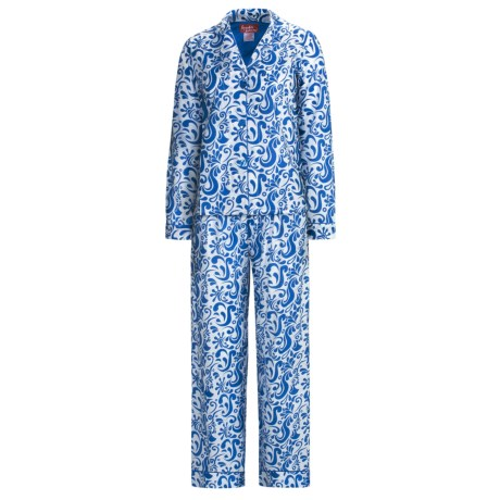 Frankie & Johnny Cotton Voile Pajamas - Long Sleeve (For Women) in Paisley Navy Blue