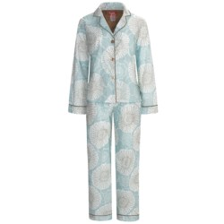 Frankie & Johnny Cotton Voile Pajamas - Long Sleeve (For Women) in Spring Blooms Gold