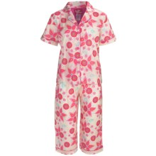 Frankie & Johnny Cotton Voile Pajamas - Short Sleeve, Capris (For Plus Size Women) in Chubby Birds Day - Closeouts