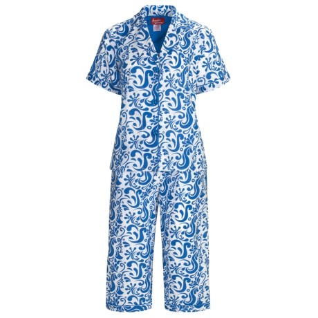 Frankie & Johnny Cotton Voile Pajamas - Short Sleeve, Capris (For Plus Size Women) in Paisley Navy Blue