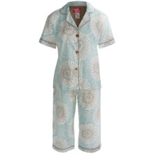 Frankie & Johnny Cotton Voile Pajamas - Short Sleeve, Capris (For Women) in Spring Blooms Gold - Closeouts