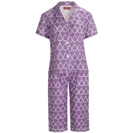Frankie & Johnny Cotton Voile Pajamas - Short Sleeve, Capris (For Women) in Teardrop Purple Passion
